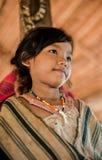 PAKSE, LAOS, el 14 de agosto: Un Laos no identificado poco en el hous Imagen de archivo libre de regalías