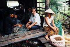 local woman in a traditional conical hat selling tobacco at the village market next to the mekong river with her family sitting be stock images
