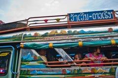 PAKSE LAOS, SIERPIEŃ, - 12: Widok rynek w Pakse mieście jest Zdjęcie Royalty Free