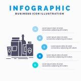 pakujący, Oznakujący, wprowadzać na rynek, produkcie, butelki Infographics szablonie dla strony internetowej i prezentacjo, glif  royalty ilustracja
