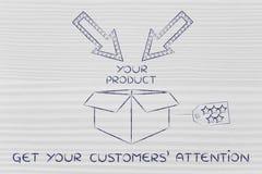 Pakujący z etykietką, strzała i tekst Dostają twój klientów attent Zdjęcie Royalty Free
