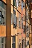 Pakuje de l'Onyar, domy nad Onyar rzeką, Girona, Catalonia, Hiszpania Zdjęcie Royalty Free