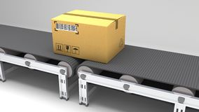Pakuje dostawę, pakujący usługa i pakuneczka systemu transportu pojęcie, kartony na konwejeru pasku w magazynie, 3d Zdjęcie Royalty Free