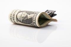 Pakunek Usa dolarowi rachunki na szkło stole S wystawia rachunek dolara Obrazy Stock