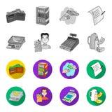 Pakunek, waży, banan, owoc Supermarket ustalone inkasowe ikony w monochromu, mieszkanie symbolu stylowy wektorowy zapas Obraz Stock