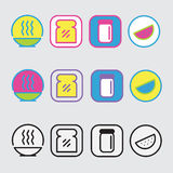 Pakunku jedzenia ikony Zdjęcia Royalty Free
