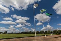 Palácio da Alvorada - Brasília - DF - Brazil. Flags in front of Palácio da Alvorada (Alvorada Palace) - Official residence of the President of Brazil stock photo