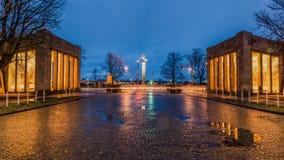Palácio da arte do museu no sseldorf do ¼ de DÃ no início da noite Imagens de Stock