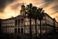 Palácio da Bolsa Stock Exchange Palace in Oporto. Photo of Palácio da Bolsa Stock Exchange Palace in Oporto, during golden hour stock photo