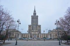 Palácio da cultura e da ciência em Varsóvia, noite, Polônia, 03 2017 fotografia de stock royalty free