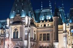 Palácio da cultura em Iasi Romênia no inverno imagem de stock royalty free