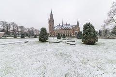 Palácio da paz, Vredespaleis, sob a neve foto de stock royalty free
