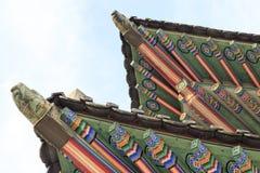 Palácio de Coreia, telhado de madeira coreano, palácio de Gyeongbokgung em Seoul, Coreia do Sul foto de stock royalty free