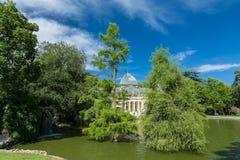 Palácio de cristal cristal de Palacio de no parque de Buen Retiro - Madri Foto de Stock Royalty Free