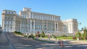 Palácio do parlamento, Palatul Parlamentului, em Bucareste Romênia Em abril de 2018 fotografia de stock royalty free