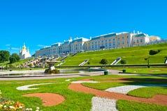 Palácio grande de Peterhof imagem de stock royalty free