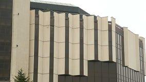 Palácio nacional da cultura em Sófia, Bulgária em ângulos diferentes, arquitetura filme