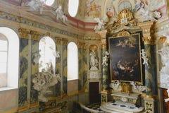 Palácio 18o c de Valtice em República Checa, assento anterior dos príncipes do ruling de Liechtenstein Arquiteto Johann Erlach Fotos de Stock