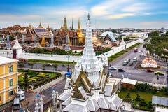 Palácio, Wat Phra Kaew & LAK grandes Mueang, Banguecoque, marco de T Fotografia de Stock