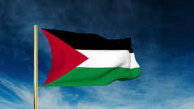 Palästina-Flaggenschieberart Wellenartig bewegen in den Gewinn stock video