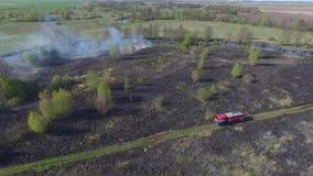 Paląca sucha trawa Ogień w łące zbiory
