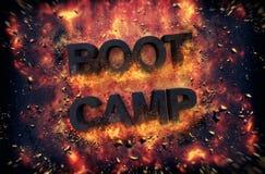 Palący płomienie i środek wybuchowy iskry - BOOT CAMP ilustracji
