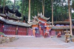 Pal?cio de Jianfu na montanha de Qingcheng imagens de stock