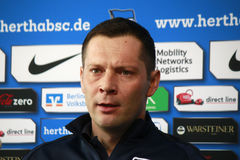 Pal Dardai. FEBRUARY 5, 2015 - BERLIN: the new coach Pal Dardai at a press conference of the German football club Hertha BSC Berlin Royalty Free Stock Photography