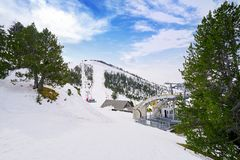 Pal ski resort in Andorra Pyrenees. Mountains on sunny day stock photos