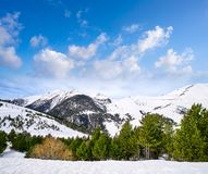 Pal ski resort in Andorra Pyrenees. Mountains on sunny day royalty free stock photography