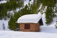 Pal snow house in Andorra Pyrenees. Sunny day stock photos