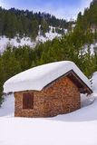 Pal snow house in Andorra Pyrenees. Sunny day royalty free stock image