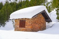 Pal snow house in Andorra Pyrenees. Sunny day stock photo