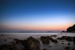 Pala beach when sunset. A part of Pala beach when sunset, Banchang, Rayong, Thailand royalty free stock photos