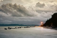 Pala beach when sunset. A part of Pala beach when sunset, Banchang, Rayong, Thailand stock photography