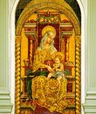 Pala ceramica di vergine Maria nel palazzo episcopale a La Mancha, Spagna di Ciudad Real, Castiglia Fotografie Stock