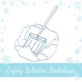 Pala della neve Illustrazione disegnata a mano di vettore Fotografia Stock