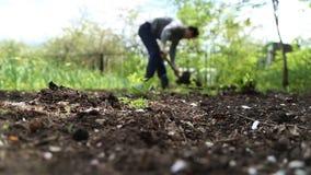 Pala di scavatura dell'uomo nel giardino archivi video