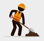 pala e cemento del lavoratore dell'uomo della siluetta royalty illustrazione gratis