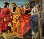 Pala Magrini Filippino Lippi reprezentuje świętych Roch, Sebastian, Jerome i Helena, obrazy stock
