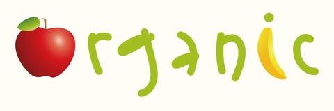 Palabra aislada orgánica con las letras, la manzana y el plátano Logotipo y concepto del alimento biológico Imagen de archivo libre de regalías