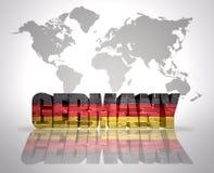 Palabra Alemania en un fondo del mapa del mundo stock de ilustración