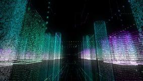 palabra animada del negocio de la animación 3d de la ciudad del wireframe del edificio del cable brillante binario de la arquitec almacen de video