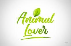 palabra animal de la hoja del verde del amante en el fondo blanco stock de ilustración