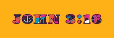 Palabra Art Illustration del concepto del 3:16 de Juan stock de ilustración