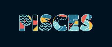 Palabra Art Illustration del concepto de Piscis libre illustration