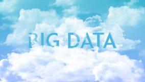Palabra BIG DATA en las nubes, colores del cielo azul stock de ilustración