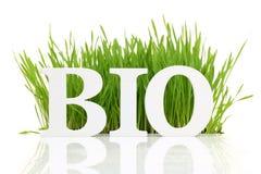 Palabra bio con la hierba fresca Fotos de archivo