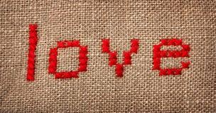 Palabra bordada ?amor? Fotografía de archivo