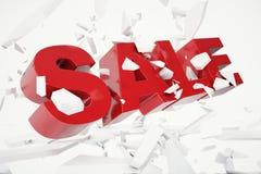palabra caida venta de 3D Rednering palabra roja de la venta 3D aislada sobre el fondo blanco con tierra de la grieta Imagen de archivo libre de regalías